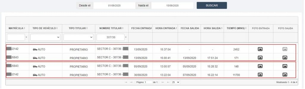 ViewAccess Reporte Control Cocheras